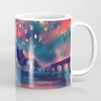 colorful Mugs featuring The Lights by Alice X. Zhang