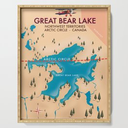 Great Bear Lake, canada, map travel poster Serving Tray