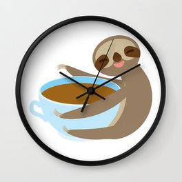 sloth & coffee 2 Wall Clock