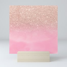 Modern rose gold glitter ombre hand painted pink watercolor Mini Art Print