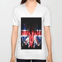 british flag V-neck T-shirts featuring British flames  by Cozmic Photos