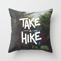 backpack Throw Pillows featuring Take A Hike by Zeke Tucker