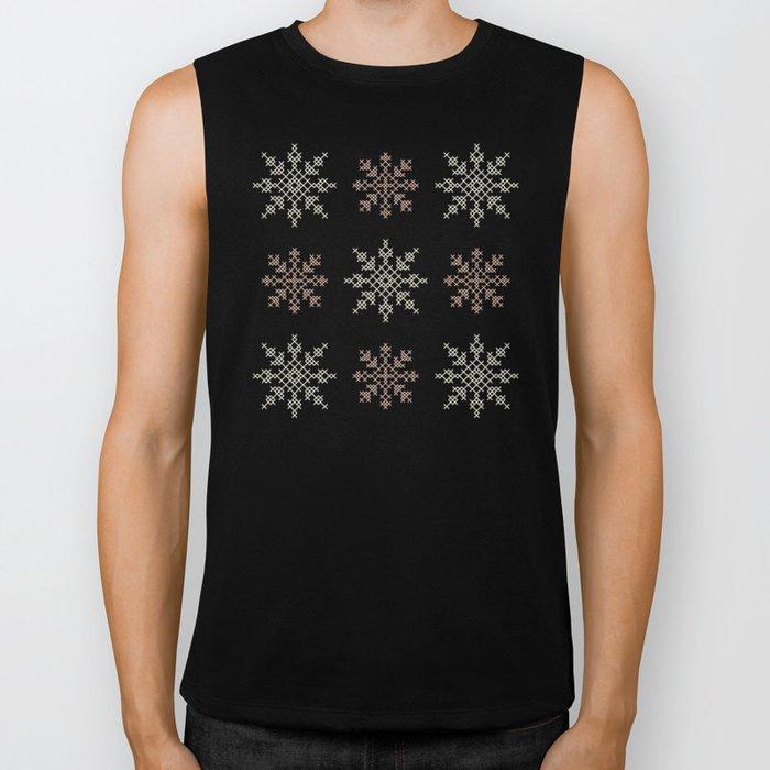 Snowflakes Cross Stitch Pattern (Mint) Biker Tank