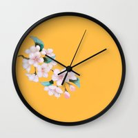 sakura Wall Clocks featuring Sakura by Priscilla Moore