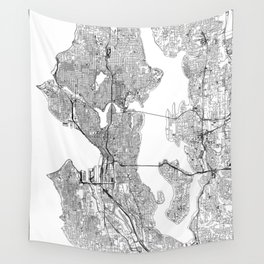 Seattle White Map Wall Tapestry