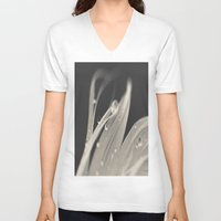 feather V-neck T-shirts featuring Feather by Dora Birgis