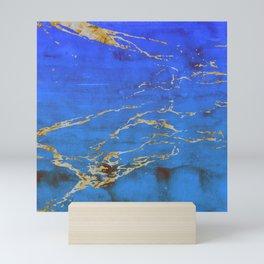 Sky Blue Marble With 24-Karat Gold Nugget Veins Mini Art Print