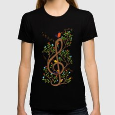 Song birds Black MEDIUM Womens Fitted Tee