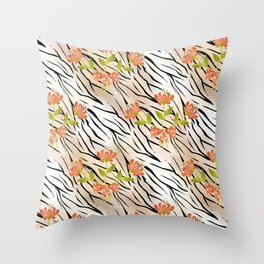 Floral pattern on a tiger background . Throw Pillow