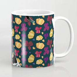 benji the cat 9 on navy - flower print Coffee Mug