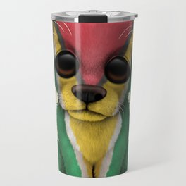 Cute Puppy Dog with flag of Guyana Travel Mug