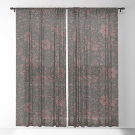 Abstract Geometric - kind of damasc french style wrapping paper - burgundy red and black Sheer Curtain