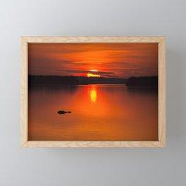 Autumn Sunset Orange Sky Lakescape #decor #society6 #buyart Framed Mini Art Print