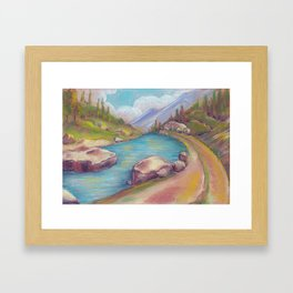 Landscape with lake and mountains drawing by pastel Framed Art Print