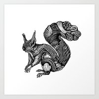 squirrel Art Prints featuring Squirrel by Rebexi