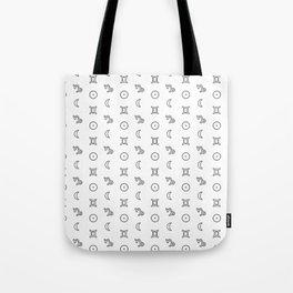 Gemini/Capricorn + Sun/Moon Zodiac Glyphs Tote Bag