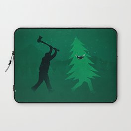 Funny Cartoon Christmas tree is chased by Lumberjack / Run Forrest, Run! Laptop Sleeve