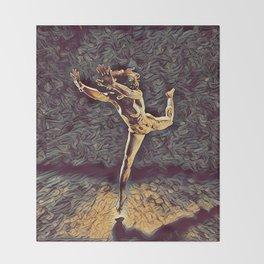 1315s-ZAC Dancer Leaping Air Time Beautiful Black Woman Antonio Bravo Style Throw Blanket