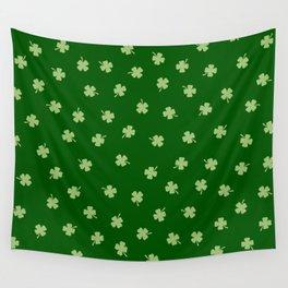 Green Shamrocks Green Background Wall Tapestry