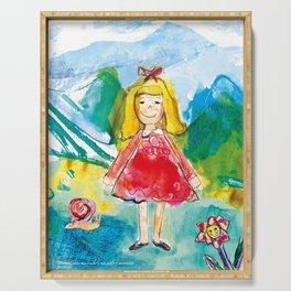 Little girl illustration, design for a girl Serving Tray