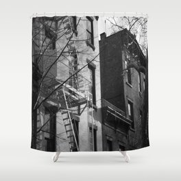 NYC Fire Escape Black and White Shower Curtain