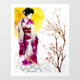 Sunset Geisha Art Print