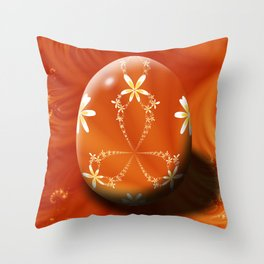 Daisy Chain Fractal Egg Throw Pillow