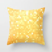 pixel Throw Pillows featuring Golden pixeLs by 2sweet4words Designs