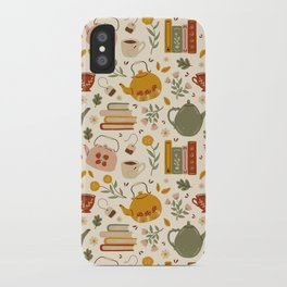 Flowery Books and Tea iPhone Case