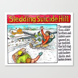 sledding on suicide hill Canvas Print