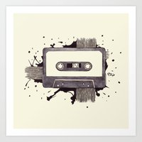 cassette Art Prints featuring Cassette by One Curious Chip