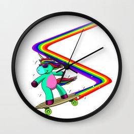 Rainbow Skate Rainbow Birthday Women Wall Clock