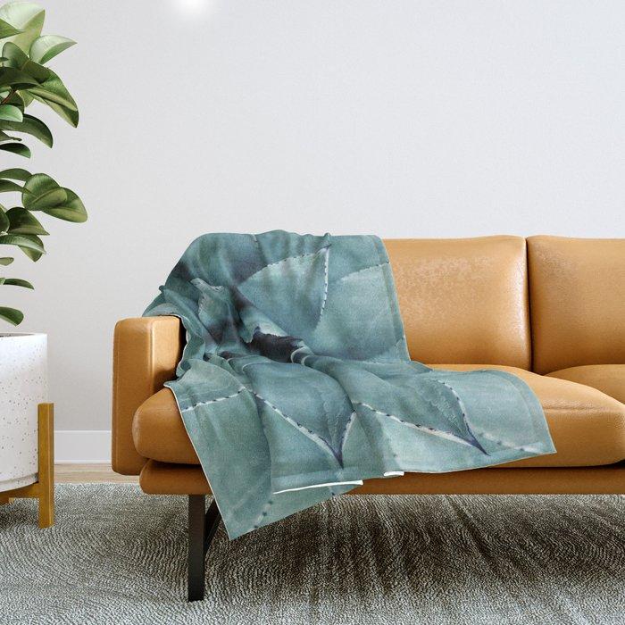 Aloe Green Agave Throw Blanket