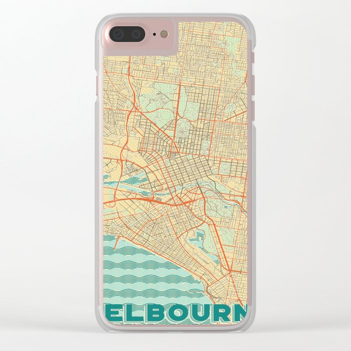 Melbourne Map Retro Clear iPhone Case