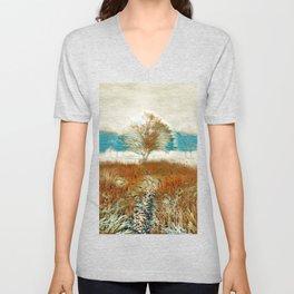 Sunrise Through The Tree By The Creek Art Unisex V-Neck