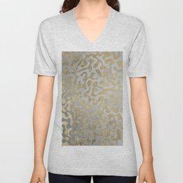 Modern elegant abstract faux gold silver pattern Unisex V-Neck