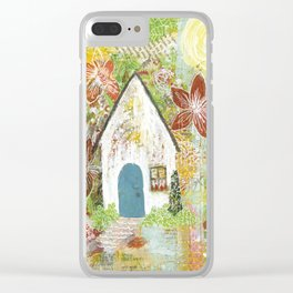 Little white cottage in the sun Clear iPhone Case