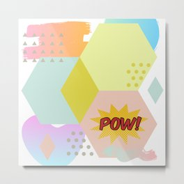 Pow! Abstract Geometric Shapes Metal Print