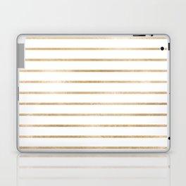 Modern geometrical gold yellow stripes pattern Laptop & iPad Skin