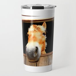 Horse Face Close Up Accentuating his Nose Travel Mug