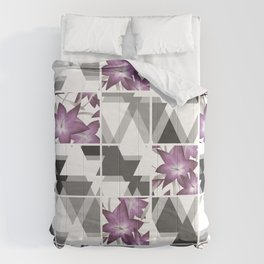 Pink lilies on a cramped gray background triangles . Comforters
