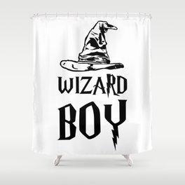 Wizard boy. Gift for boy wizard Shower Curtain
