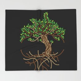 Rope Tree of Life. Rope Dojo 2017 black background Throw Blanket