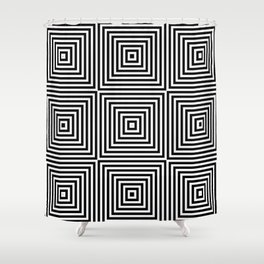 Square Optical Illusion Black And White Shower Curtain