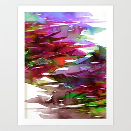 FERVOR 3 Colorful Bold Abstract Autumn Fall Crimson Red Purple Mauve Green Watercolor Painting Art Art Print