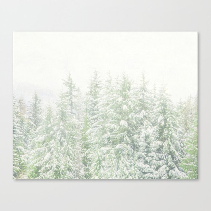 White Winter Forest with a Hint of Mint Canvas Print