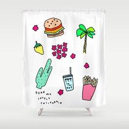 Dear My Lovely California - Burger Cactus Palm Tree Tropical Pattern Shower Curtain