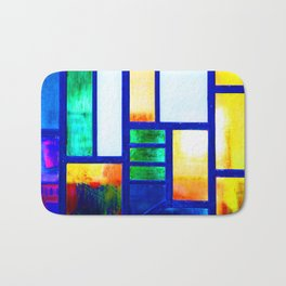 Art Deco Colorful Stained Glass Bath Mat