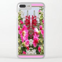 PINK & RED HOLLYHOCKS GARDEN ART Clear iPhone Case