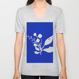 Minimal Wildflowers On Cobalt Blue Unisex V-Neck
